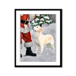 Golden Retriever Christmas Framed Panel Print