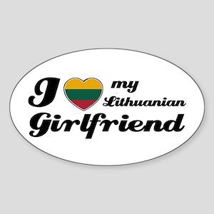I love my Lithuanian Girlfriend Oval Sticker