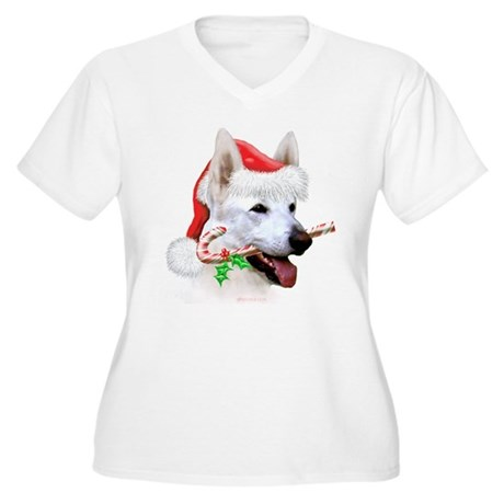 White Shep Christmas Women's Plus Size V-Neck T