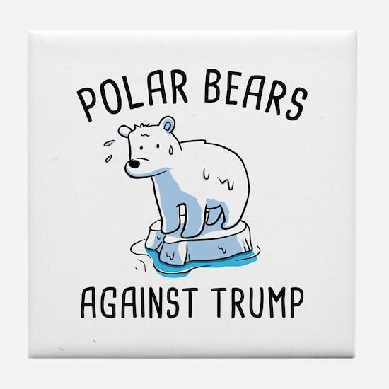 Polar Bears Against Trump Tile Coaster