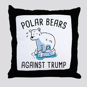 Polar Bears Against Trump Throw Pillow