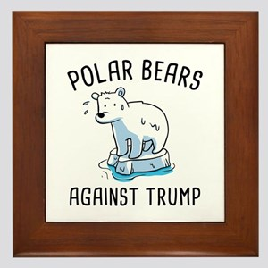 Polar Bears Against Trump Framed Tile
