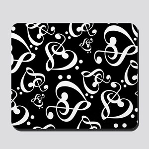 Black And White Music Hearts Mousepad