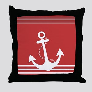 Nautical Striped Design with Anchor Throw Pillow