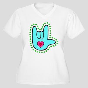 Aqua Dotty Love Hand Women's Plus Size V-Neck T-Sh
