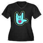 Aqua Dotty Love Hand Women's Plus Size V-Neck Dark