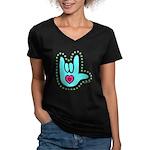 Aqua Dotty Love Hand Women's V-Neck Dark T-Shirt