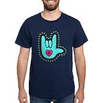 Aqua Dotty Love Hand Dark T-Shirt