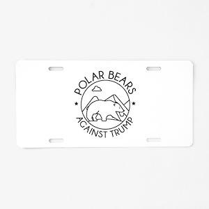 Polar Bears Against Trump Aluminum License Plate