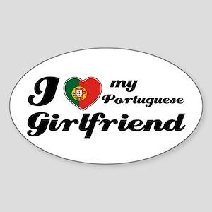 I love my Portuguese Girlfriend Oval Sticker