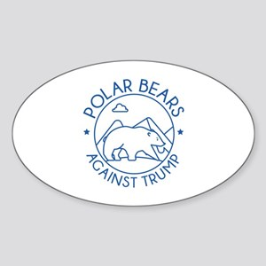 Polar Bears Against Trump Sticker (Oval)