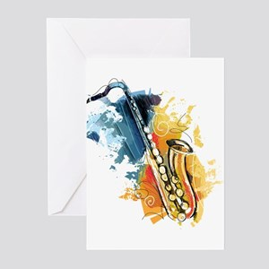 Saxophone Painting Greeting Cards