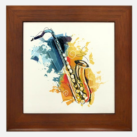 Saxophone Painting Framed Tile