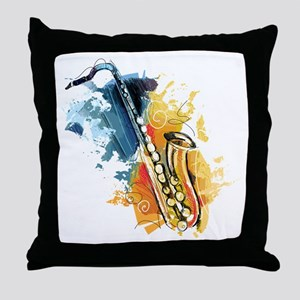 Saxophone Painting Throw Pillow