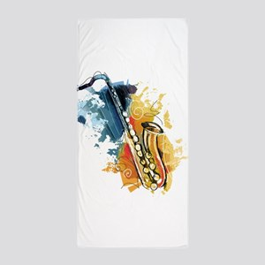 Saxophone Painting Beach Towel