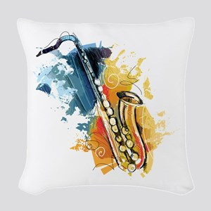 Saxophone Painting Woven Throw Pillow