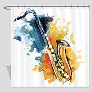 Saxophone Painting Shower Curtain