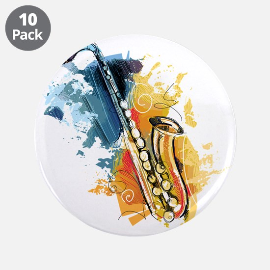 """Saxophone Painting 3.5"""" Button (10 pack)"""