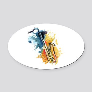 Saxophone Painting Oval Car Magnet