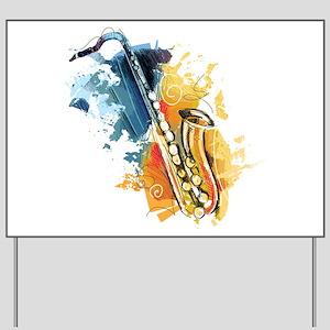 Saxophone Painting Yard Sign