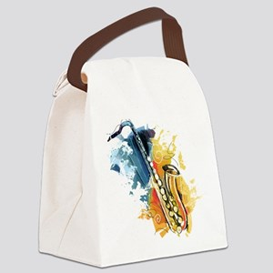 Saxophone Painting Canvas Lunch Bag