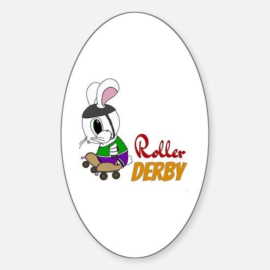 Cute Roller bunny Sticker (Oval)