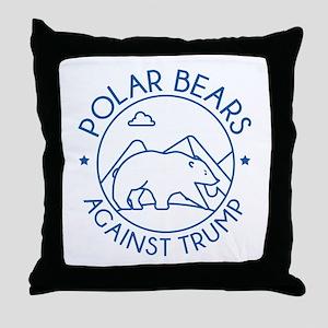 Polar Bears Against Trump Throw Pillow