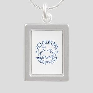 Polar Bears Against Trump Silver Portrait Necklace