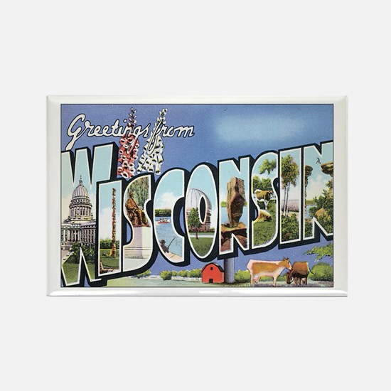 Wisconsin Postcard Rectangle Magnet