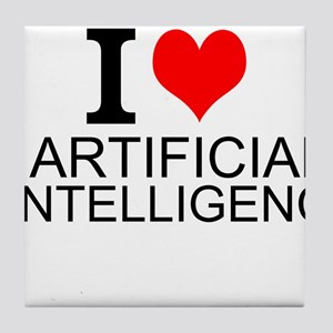 I Love Artificial Intelligence Tile Coaster