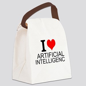 I Love Artificial Intelligence Canvas Lunch Bag