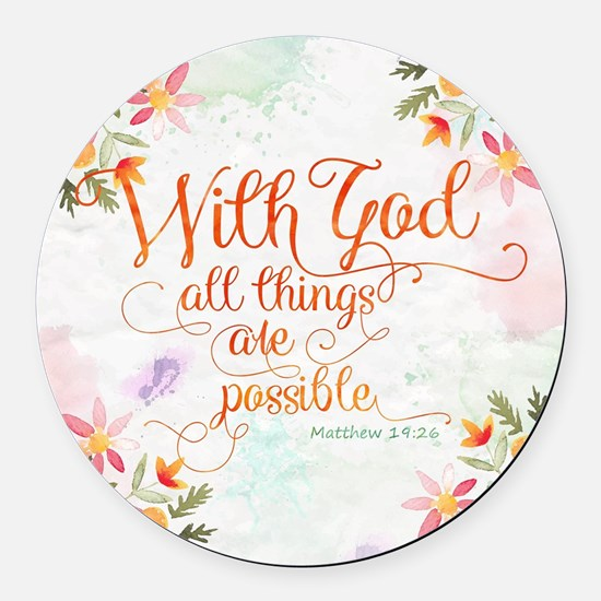 With God Round Car Magnet