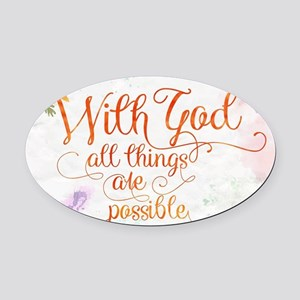 With God Oval Car Magnet