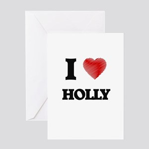 I love Holly Greeting Cards