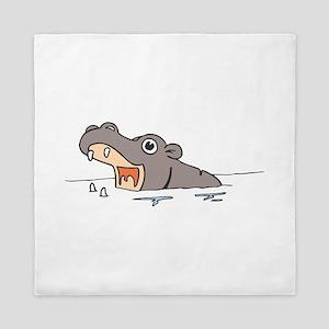 Hippo in Water Queen Duvet