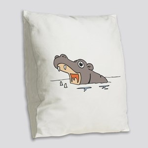 Hippo in Water Burlap Throw Pillow