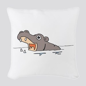 Hippo in Water Woven Throw Pillow