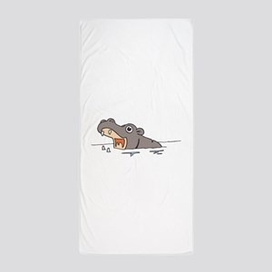 Hippo in Water Beach Towel