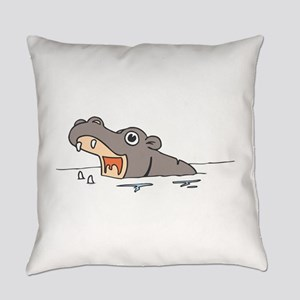 Hippo in Water Everyday Pillow