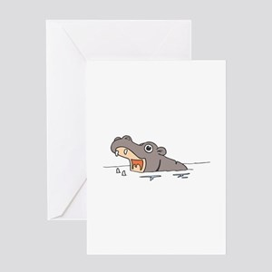 Hippo in Water Greeting Cards