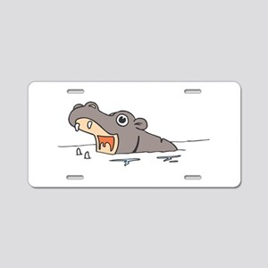 Hippo in Water Aluminum License Plate
