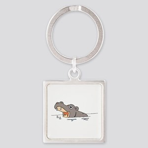 Hippo in Water Keychains