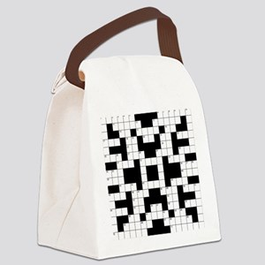 Crossword Pattern Decorative Canvas Lunch Bag