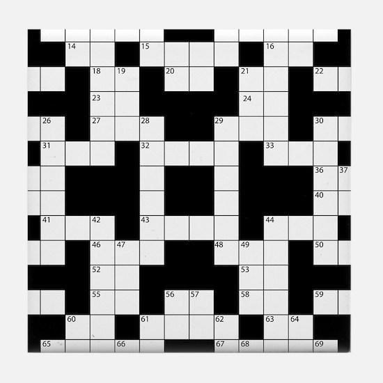 Crossword Pattern Decorative Tile Coaster