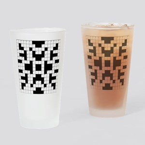 Crossword Pattern Decorative Drinking Glass