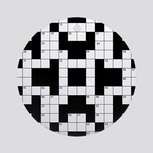 Crossword Pattern Decorative Round Ornament