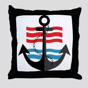 Nautical Anchor Trendy Summer Design Throw Pillow