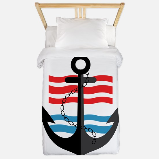 Nautical Anchor Trendy Summer Design Twin Duvet