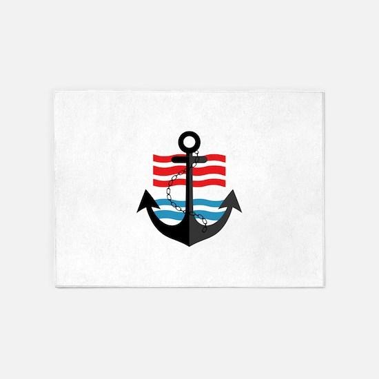Nautical Anchor Trendy Summer Desig 5'x7'Area Rug