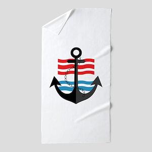 Nautical Anchor Trendy Summer Design Beach Towel